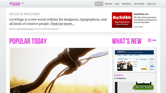 LoveDsgn home page redesign