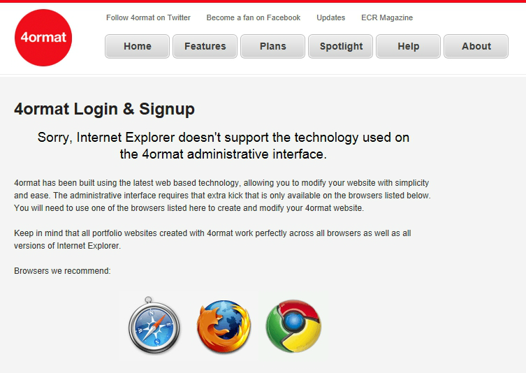 4ormat sign-up IE blocked