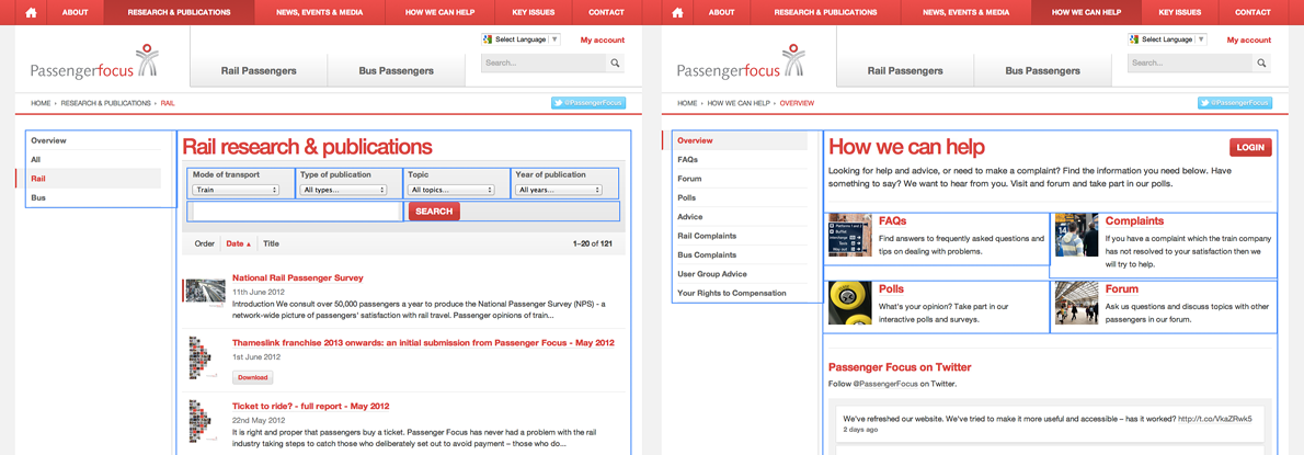 Passenger Focus website grid design