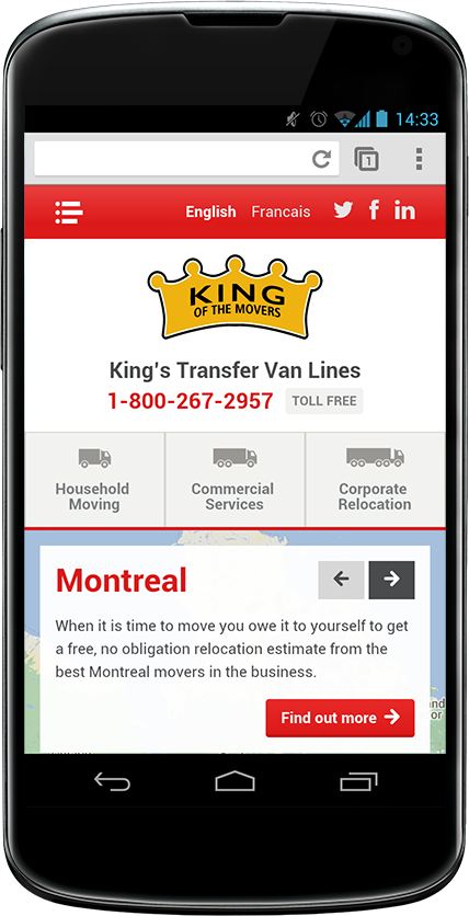 King's website design on mobile