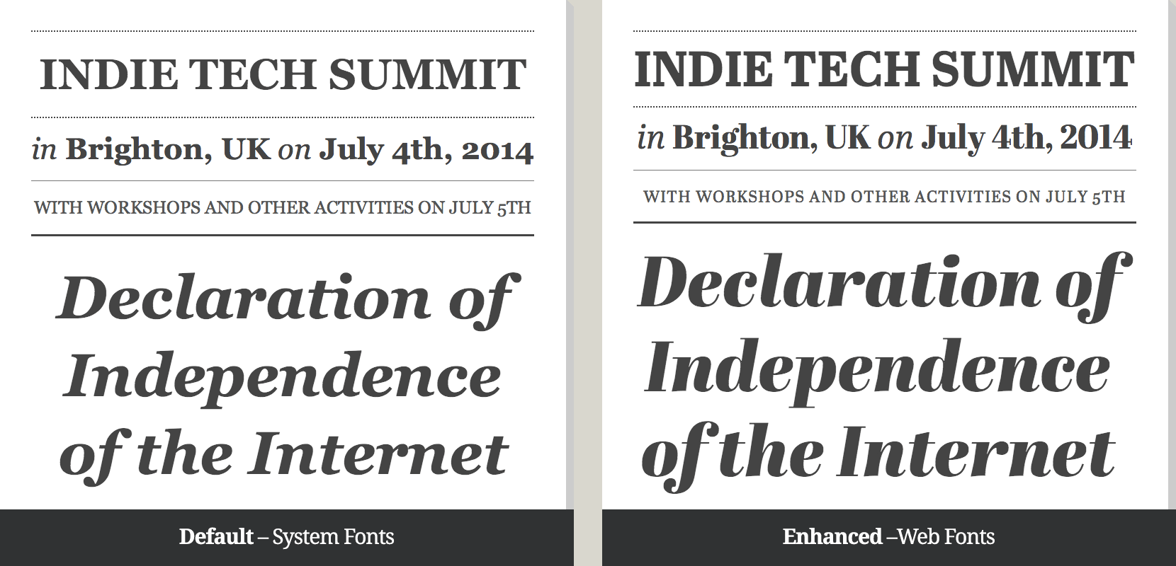 Indie Tech Summit web fonts