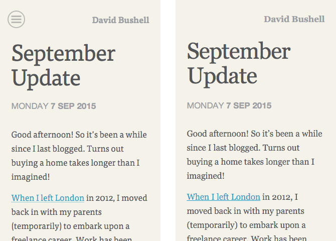 dbushell.com blog article responsive and AMP page designs