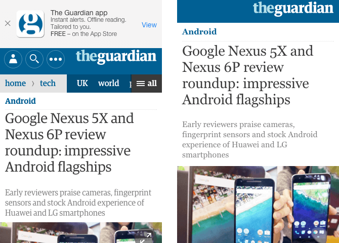 The Guardian news article responsive and AMP page designs