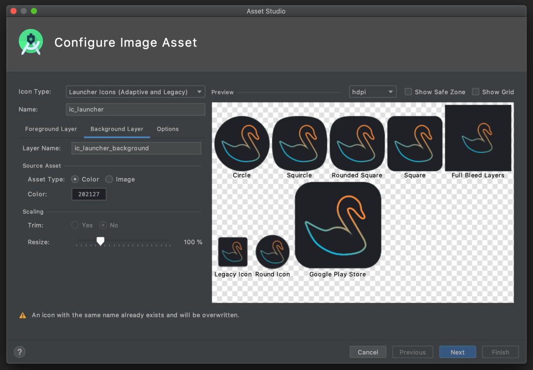 Mute Swan app icons in Android Studio