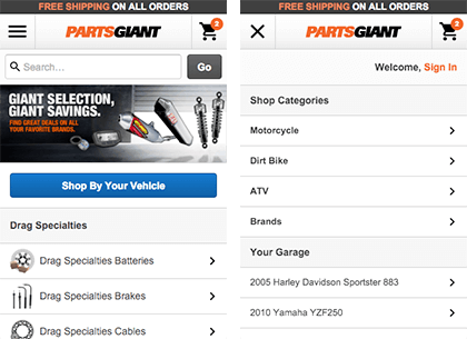 PartsGiant Mobile Design