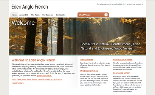David Bushell - Web Design - Eden Anglo French home page.