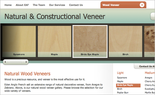 David Bushell - Web Design - Eden Anglo French veneer gallery page.
