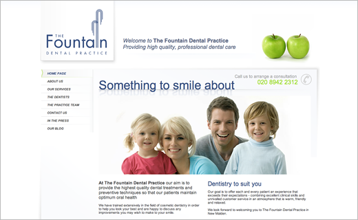 David Bushell - Web Design - Fountain Dental home page.